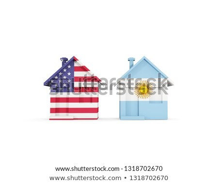 Two houses with flags of United States and argentina Stock photo © MikhailMishchenko