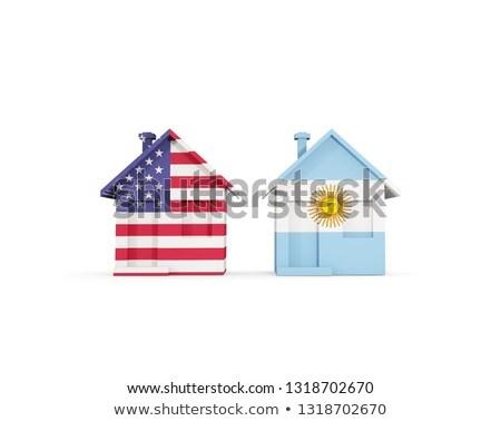 Deux maisons drapeaux États-Unis Argentine isolé Photo stock © MikhailMishchenko