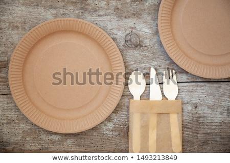 környezetbarát · kék · papír · tányér · tányérok · nulla - stock fotó © furmanphoto