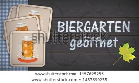 Biergarten Geoeffnet Dark Wood Beer Coasters Stock photo © limbi007