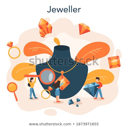 Worker and Brilliant, Woman with Diamond Vector Stock photo © robuart