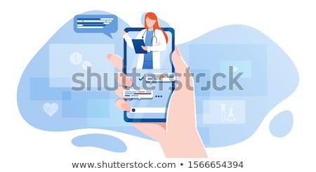 Medical App with Doctor Female in Phone Vector Stock photo © robuart