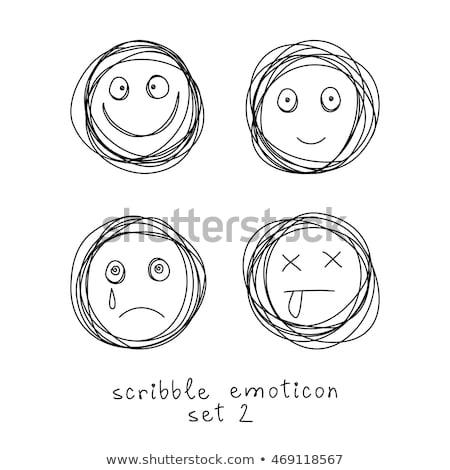 Potlood emoticon schets illustratie huilen social media Stockfoto © barsrsind