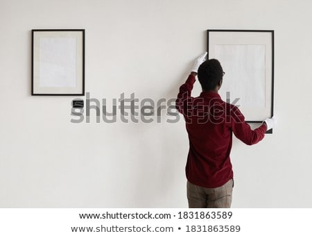Siyah adam asılı çerçeve portre siyah kişi Stok fotoğraf © photography33