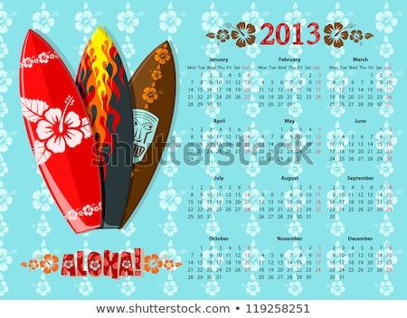 Vector Aloha Calendar 2013 With Surf Boards Photo stock © Elisanth