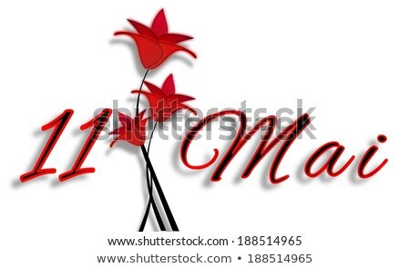 Mothers Day On May 11th Date With Letters With Red Flowers Stok fotoğraf © impresja26
