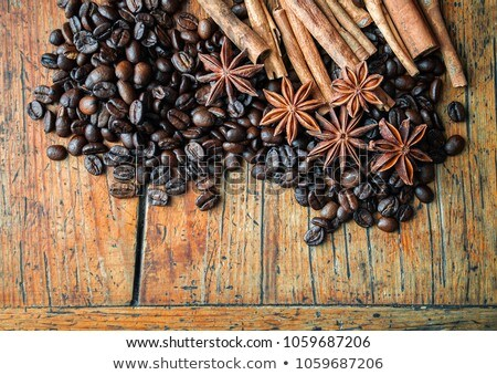 Macro view of many anise on wooden board Stock photo © dla4