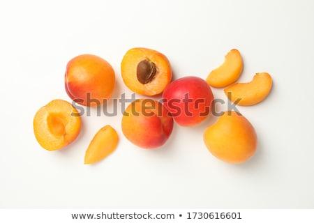 sárgabarack · gyümölcs · egész · fél · levél · izolált - stock fotó © tetkoren