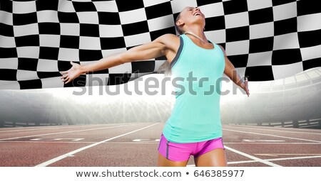 女性 ランナー トラック フラグ デジタル複合 ストックフォト © wavebreak_media
