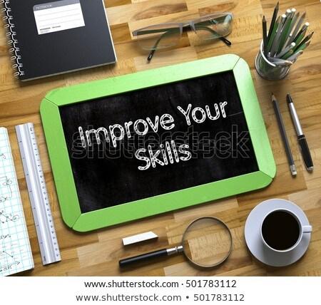 improve your skills on small chalkboard 3d stock photo © tashatuvango