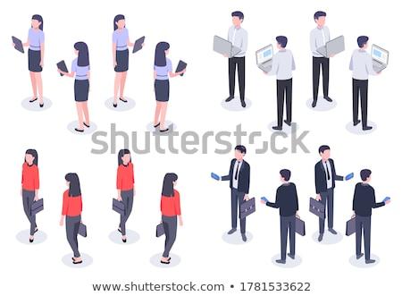 Ludzi biznesu elegancki kobieta teczki człowiek otwarta księga Zdjęcia stock © robuart