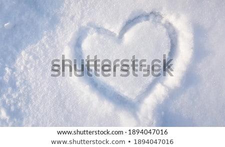 Kalp kış sezonu yazmak kar doku arka plan Stok fotoğraf © Lopolo