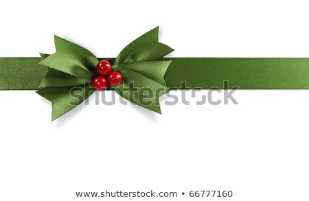 Green Bow With Holly Berry White Background Stock photo © cammep