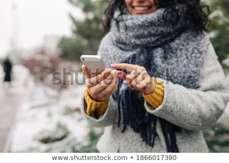 portrait · femme · hiver · paysages · ciel · sexy - photo stock © ruslanshramko