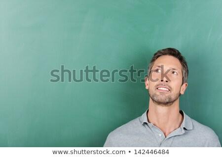 Férfi felfelé néz zöld közelkép érett férfi haj Stock fotó © AndreyPopov
