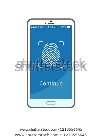 Continue Work with Gadget Put Fingerprint on Phone Stock photo © robuart