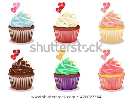 Muffinok piros csészék fehér torta búza Stock fotó © Melnyk
