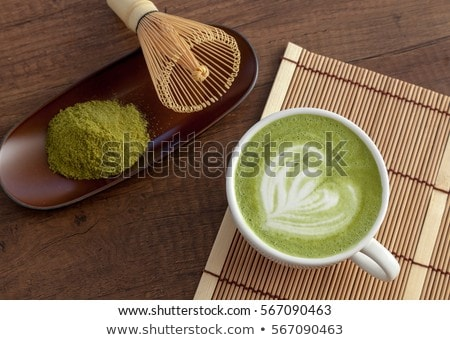 Matcha latte and tools for prepare green tea drink Stock photo © furmanphoto