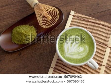 Szerszámok zöld tea ital étel kollázs üveg Stock fotó © furmanphoto