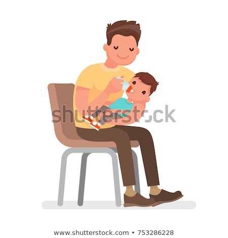 Father Caring for Child, Newborn Baby on Table Stock photo © robuart