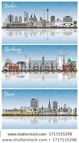 Hamburg skyline grijs gebouwen blauwe hemel Stockfoto © ShustrikS