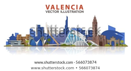 Abstract Valencia Skyline with Color Buildings. Stock photo © ShustrikS