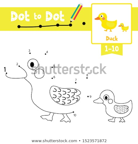 Connect The Dots and Draw Cute Cartoon Duck. Educational Game for Kids. Stock photo © natali_brill