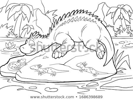 étudiant dinosaures cartoon illustration crayon Photo stock © bennerdesign