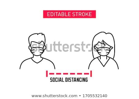 Távolság figyelmeztető jel emberek megbeszélés beszél együtt Stock fotó © Maridav