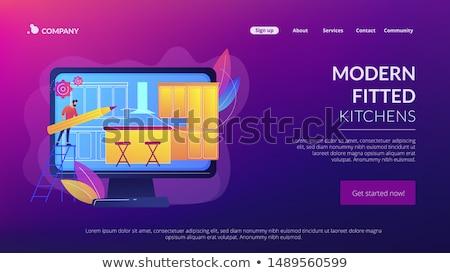 Coutume meubles atterrissage page président architecte d'intérieur Photo stock © RAStudio
