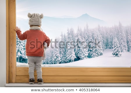 Stock photo: Cute little boy looking through Winter christmas Window