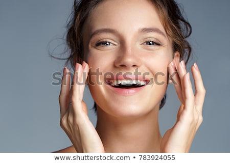 belo · morena · menina · tocante · cabelo · beleza - foto stock © jagston