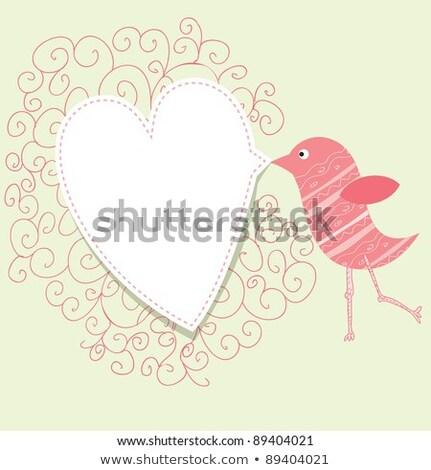 Stock fotó: Bird With Speech Bubble Vintage Valentine Concept
