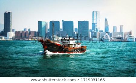 Hong · Kong · ağır · dumanlı · sis · Bina · şehir · gün · batımı - stok fotoğraf © kawing921