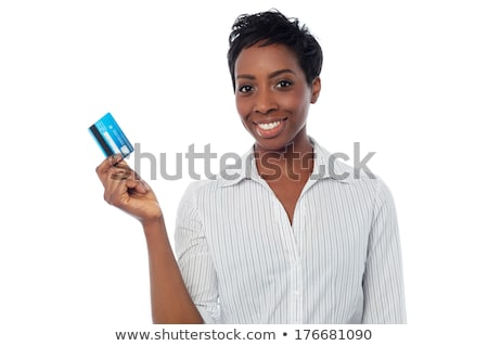 Businesswoman holding up her business card Stock photo © photography33