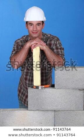 Mason stood with plank behind unfinished wall Stock photo © photography33