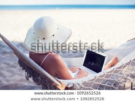 mulher · trabalhando · laptop · praia · computador · mulheres - foto stock © wavebreak_media
