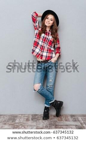 Güzel genç esmer gömlek high fashion Stok fotoğraf © Andersonrise