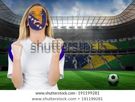 excited bosnia fan in face paint cheering stock photo © wavebreak_media