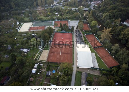 Highly detailed aerial city view with gardens, tennis courts, ri Stock photo © slunicko