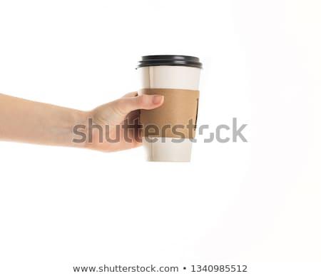 Férfi tart kávéscsésze középső rész kávé étterem Stock fotó © wavebreak_media