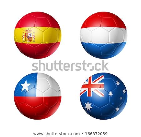 Vlag Nederland voetbal geïsoleerd witte voetbal Stockfoto © orensila