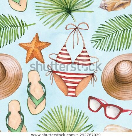 strand · hoed · vrouw · zeester · hand · tropische - stockfoto © lunamarina