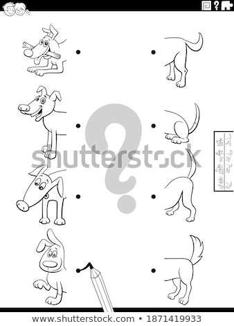 match halves of animals pictures game color book Stock photo © izakowski