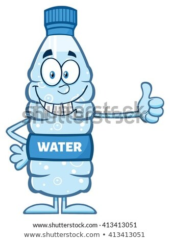 smiling water plastic bottle cartoon mascot character giving a thumb up stock photo © hittoon