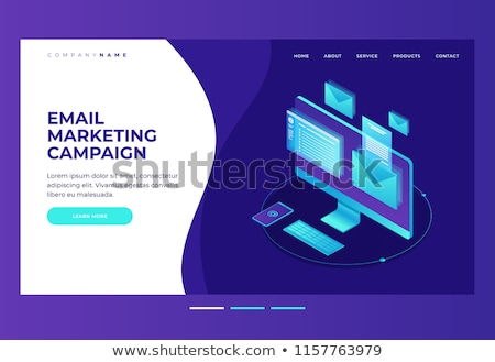 Isometric vector landing page template for e-mail marketing, product promoting. Stock photo © TarikVision