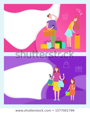 Photo stock: Shopping · couple · femme · agacé · homme · affiches