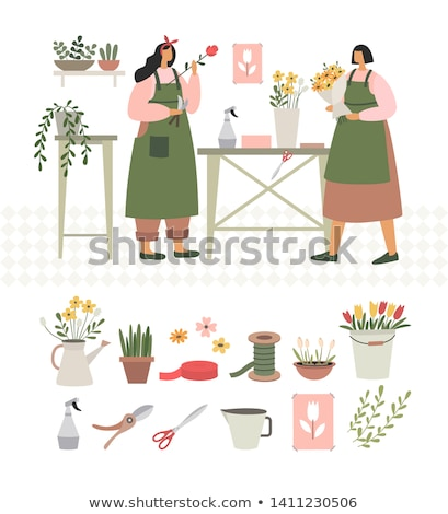 Flower Shop, Person Selling Plants in Pots Vector Stock photo © robuart