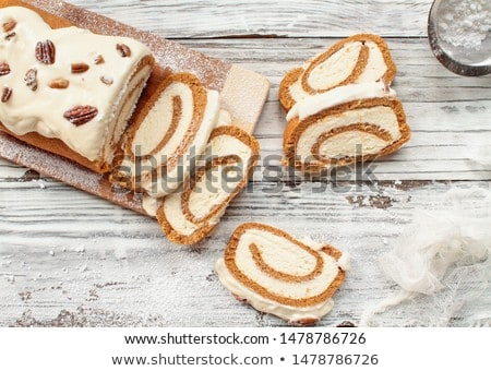 Pumpkin Roll Spice Cake over Cutting Board Stock photo © StephanieFrey