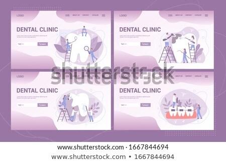 Fogászati klinika látogatás vektor illusztrációk szett Stock fotó © RAStudio